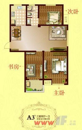 长方形房子三室一厅设计图
