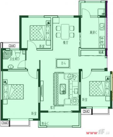 三室一厅一卫的b4户型  户型面积区间:128.6平方米