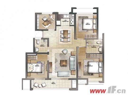 建筑面积约126㎡四室两厅两卫户型