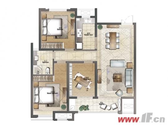 建筑面积约120㎡三室两厅两卫户型