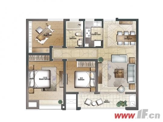 建筑面积约105㎡三室两厅一卫户型