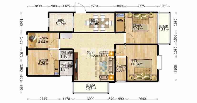 金輝三期精裝4室136.5平(ping)248萬,